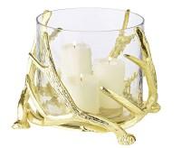 Windlicht Kingston, Geweih-Design, Aluminium, goldfarben, mit Glas, Höhe 20 cm, ø 25 cm