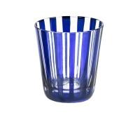 6er Set Kristallgläser / Teelichter Ela, Farbe blau, handgeschliffenes Glas in Überfangtechnik, Höhe