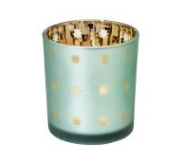 SALE Teelicht Teelichtglas Teelichthalter Duco, grün / gold, Sternchen-Motiv, Höhe 8 cm