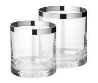 2er Set Windlicht Molly, mundgeblasenes Kristallglas mit Platinrand, Höhe 8 und 10 cm