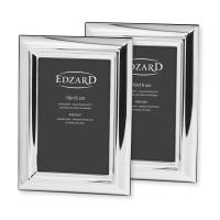 2er Set Fotorahmen Florenz für Foto 10 x 15 cm, edel versilbert, anlaufgeschützt, mit 2 Aufhängern