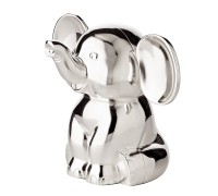 Spardose Sparbüchse Elefant, Höhe 11 cm, edel versilbert, anlaufgeschützt