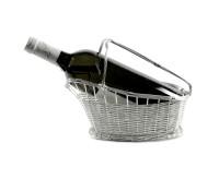 Weinkorb Rotweinkorb Basket, edel versilbert, anlaufgeschützt, Länge 24 cm