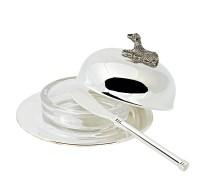 Butterglocke Lamm, Durchmesser 14 cm, edel versilbert, inklusive passendem Buttermesser 18 cm lang