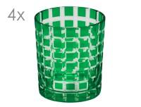4er Set Kristallgläser Marco, grün, handgeschliffenes Glas , Höhe 9 cm, Füllmenge 0,25 Liter