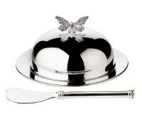 EDZARD Butterglocke Butterfly, mit Glasschale und Deckel, edel versilbert, ø 14 cm,mit Butterme