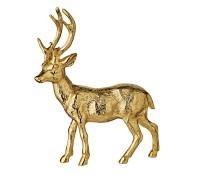 SALE Deko Figur Rentier Reh Hirsch Lasse, Aluminium, Goldoptik, Höhe 27 cm