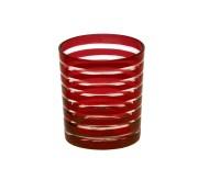 4er Set Kristallgläser / Teelichter Nelson, rot, handgeschliffenes Glas, Höhe 9 cm, Inhalt 0,25 L