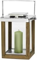 Laterne Windlicht Miami mit klappbarem Griff, Holz und Edelstahl glänzend vernickelt, Höhe 36 cm