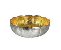 SALE Schale Leandros, Aluminium vernickelt, innen Goldoptik, Durchmesser 37 cm, Höhe 13 cm