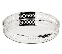 Serviertablett Galerietablett Coro, rund, edel versilbert, anlaufgeschützt, ø 23 cm, Höhe 3,5 cm