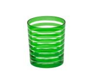 4er Set Kristallgläser / Teelichter Nelson, grün, handgeschliffenes Glas, Höhe 9 cm, Inhalt 0,25 L