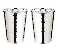 2er Set Silberbecher Trinkbecher Becher Mido, gehämmert, edel versilbert, Höhe 10 cm