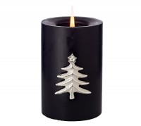 4er Set Kerzenpin Kerzenstecker Tanne, edel versilbert, Höhe 6 cm