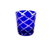 6er Set Kristallgläser / Teelichter Dio, Blau, Handgeschliffenes Glas, Höhe 8 cm, Inhalt 0,14 Liter
