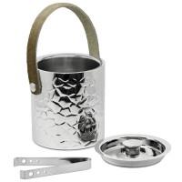 Eiseimer Capri mit Deckel, Edelstahl hochglanzpoliert, außen gemustert, Ledergriff, Zange, H 17 cm