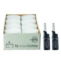 16 Stück Wenzel Maxilights transparente Maxi-Teelichter, ø 54 mm, Plus 2 Mini-Stabfeuerzeuge