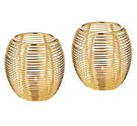2er Set Windlicht Susi, Edelstahl vernickelt goldfarben hochglanzpoliert, Höhe 9 cm, für Teelicht