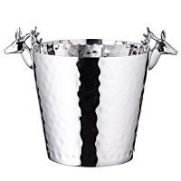 Flaschenkühler Sektkühler mit Hirschkopf-Griffen, Edelstahl glänzend vernickelt, H 28 cm, ø 20 cm