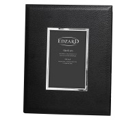 SALE Fotorahmen Geno für Foto 10 x 15 cm, Lederoptik schwarz, edel versilbert, anlaufges., 2 Aufhäng