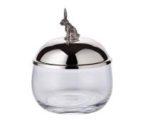 Dose Vorratsglas Hase, Deckel edel versilbert und anlaufgeschützt, Höhe 12 cm, Durchmesser 9 cm