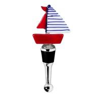 Flaschenverschluss Segelboot für Champagner, Wein und Sekt, Höhe 13 cm, Muranoglas-Art, Handarb