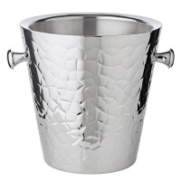 2. Wahl Sektkühler Capri mit Griffen, Edelstahl hochglanzpoliert, außen gemustert, H 23 cm, ø 22 cm