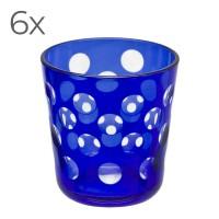 6er Set Kristallgläser Bob, blau, handgeschliffenes Glas , Höhe 8 cm, Füllmenge 0,14 Liter