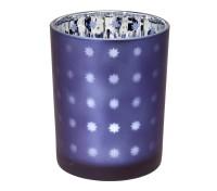SALE Teelicht Teelichtglas Teelichthalter Domo, blau / silber, Sternchen-Motiv, Höhe 12,5 cm