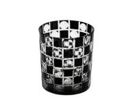 Kristallglas / Teelichthalter Diego, schwarz, handgeschliffenes Glas , H 9 cm, Füllmenge 0,25 Liter