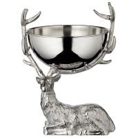 Flaschenkühler Hirsch, Aluminium vernickelt silberfarben, Schale abnehmbar, Höhe 50 cm, Breite 32 cm