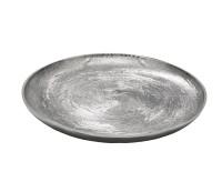 SALE Kerzenteller Dekoteller Tablett Bertram, rund, Aluminium vernickelt, Durchmesser 48 cm