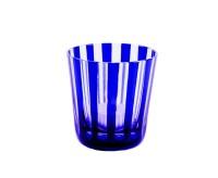 6er Set Kristallgläser / Teelichter Ela, blau, handgeschliffenes Glas, Höhe 8 cm, Inhalt 0,14 Liter