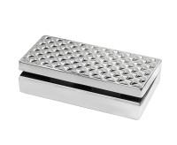 SALE Schmuck-Schatulle Schmuckbox Telde, Edelstahl glänzend vernickelt, 20 x 9 cm