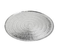 SALE Serviertablett Teller Malvin, rund, Reiskornmuster, Aluminium vernickelt, Durchmesser 50 cm