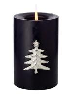 4er Set Kerzenpin Kerzenstecker Tanne, Aluminium vernickelt, Höhe 6 cm