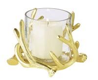 Windlicht Kingston, Geweih-Design, Aluminium, goldfarben, mit Glas, Höhe 13 cm, ø 15 cm
