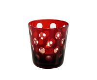 6er Set Kristallgläser / Teelichter Bob, rubin, handgeschliffenes Glas, Höhe 8 cm, Inhalt 0,14 Liter