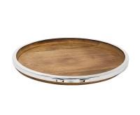 Tablett Serviertablett Cincinnati, Mangoholz und Edelstahl glänzend vernickelt, Durchmesser 40 cm