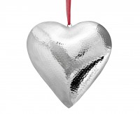 Anhänger Deko Herz, zum Hängen, Edelstahl gehämmert hochglanzpoliert, 23 x 23 x 4,5 cm