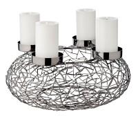Adventskranz Milano, Edelstahl dunkel vernickelt, Durchmesser 34 cm, für Stumpenkerzen ø 8 cm