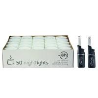 50 Stück Wenzel Nightlights durchsichtige Teelichter, weiß, Plus 2 Mini-Stabfeuerzeuge