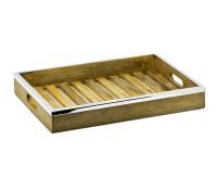 SALE Tablett Serviertablett Mango, Holz mit Edelstahlrand, rechteckig, 45 x 33 cm