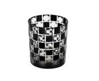 4er Set Kristallgläser / Teelichter Diego, Farbe schwarz, handgeschliffenes Glas in Überfangtechnik,