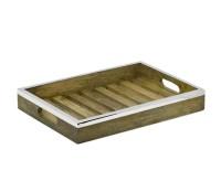 SALE Tablett Serviertablett Mango, Holz mit Edelstahlrand, rechteckig, 39 x 28 cm