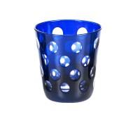 6er Set Kristallgläser / Teelichter Bob, Farbe blau, handgeschliffenes Glas in Überfangtechnik, Höhe