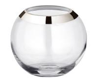 Vase Kugelvase Mirinde, mundgeblasenes Kristallglas mit Platinrand, H 18 cm, ø 20 cm,Öffnung ø 10 cm