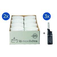 32 Stück Wenzel Maxilights transparente Maxi-Teelichter, ø 54 mm, Plus 3 Mini-Stabfeuerzeuge
