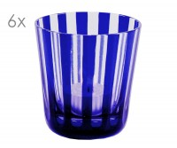SALE 6er Set Kristallgläser Ela, blau, handgeschliffenes Glas , Höhe 8 cm, Füllmenge 0,14 Liter