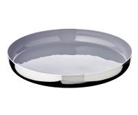 Tablett Serviertablett Clemens, Aluminum vernickelt, innen grau lackiert, Durchmesser 30 cm